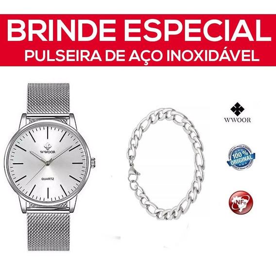 Relógio Masculino Wwoor Prata +pulseira Aço Inoxidável C/ Nf