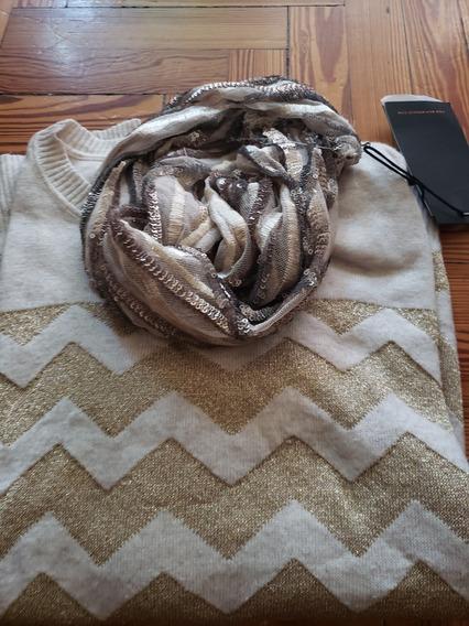 Sweater Amplio Oversize Natural Y Dorado