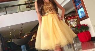 Vestido De Graduación Dorado Talla Xs