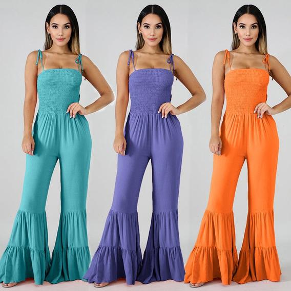 Mujeres Sexy Slip Jumpsuit Spaghetti Strap High Waist Fared