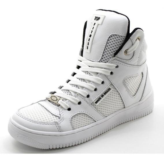 Tenis Feminino Sneakers Cano Alto Em Couro Treinos Corridas