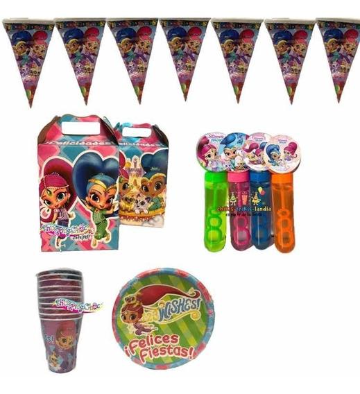 Shimmer & Shine Pkt Kit De Fiesta 20 Niños Cumple Burbujas