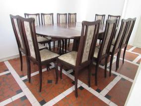 Sala Jantar Antiga Em Imbuia 12 Cadeiras Cristaleira Itager