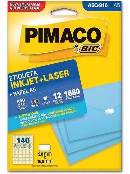 Etiqueta A5 A5q-916 12 Fls 9,0 X 16,0 Mm Ct.c/1680 Pimaco