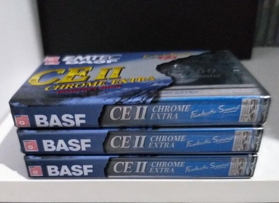 3 Fitas Cassete Basf Chrome Extra 2 Novas Lacradas