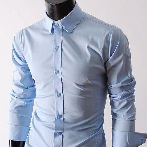 Camisa Elastizada Lisa Slim Fit Entallada Hombre Be Yourself