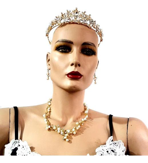 Tiara,corona Collar Y Aretes Xv Años Boda Fiesta Cristal.v