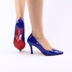 703e30f3e4 Scarpin Azul Royal Salto Medio - Sapatos no Mercado Livre Brasil
