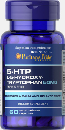 Tryptophan 5 Htp 50 Mg 60 Cap Sitema Nervioso Mejor Sueño