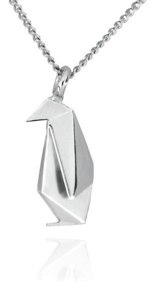 Dije Origami Pingüino De Plata