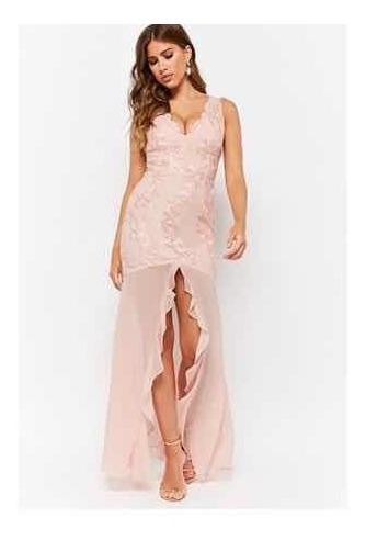 Vestido De Fiesta/gala En Encaje Y Crepé Rosa - Forever 21