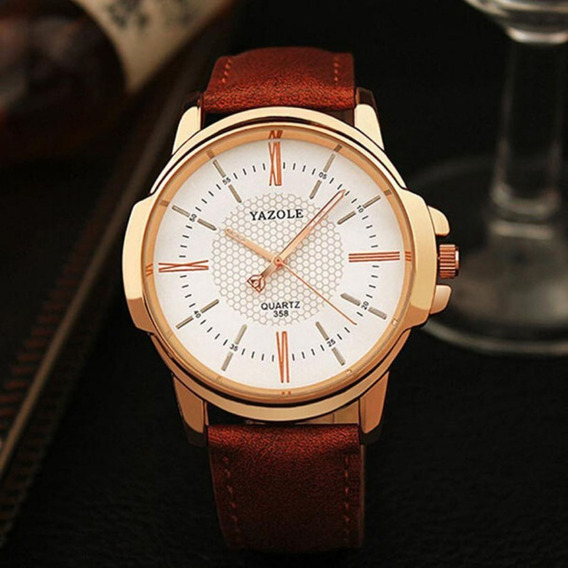 Relógio Masculino Yazole Original Pulseira De Couro