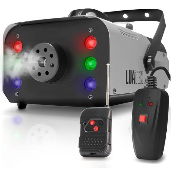 Máquina Fumaça 1200w Dj Controle Sem Fio 110v 6 Leds Rgb