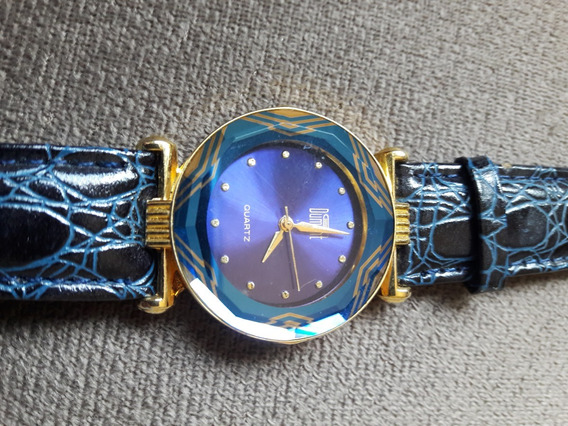 Lindo Relógio Dumont Fundo Azul Feminino Leia Descrição