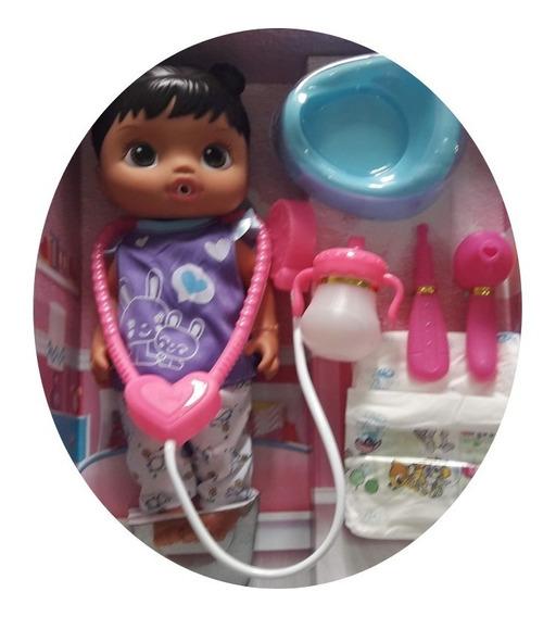 Boneca Baby Alive Medica + Acessório Faz Xixi Morena