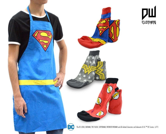 Combo Dc: Delantal Superman + 3 Socks/medias