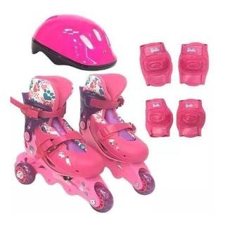 Patins Infantil Barbie Numero 29 A 32 Com Kit Proteção Fun