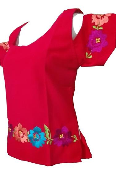 Blusa Hombro Cortado Rojo Lino 100% Yucateca