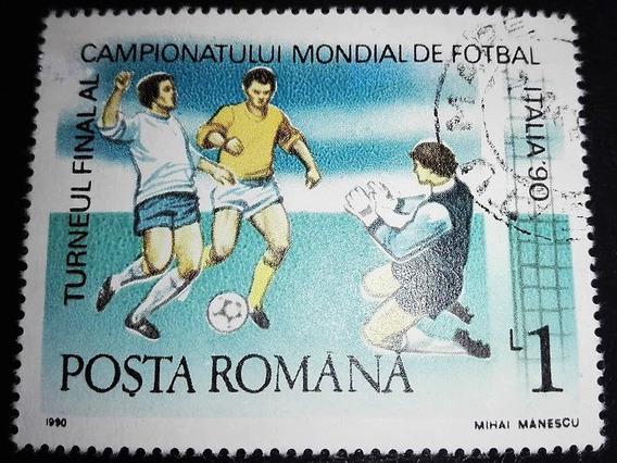 Estampilla Campeonato Mundial Futbol 1990 1 Lira