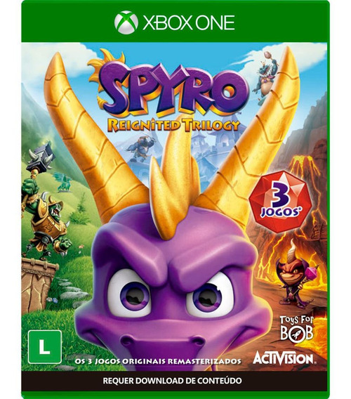 Jogo Spyro Reignited Trilogy Xbox One, Midia Fisica, Lacrada