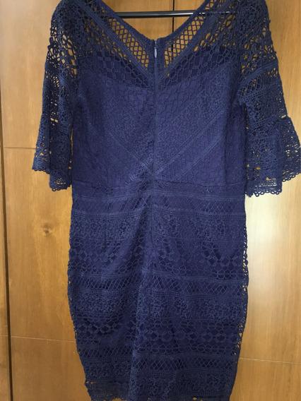 Vestido Formal Corto Azul Marino Talla 36 Nuevo