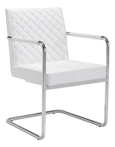 Silla Modelo Quilt Con Brazos - Blanco Këssa Muebles