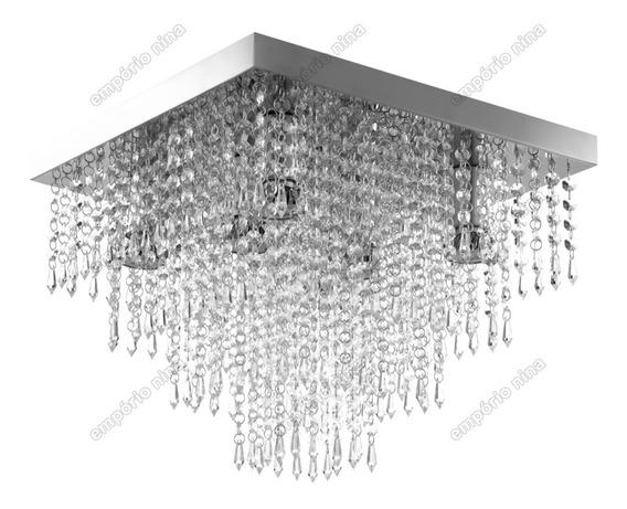 Plafon De Cristal Acrílico A42 - Inox 40x40cm - E27 Bivolt