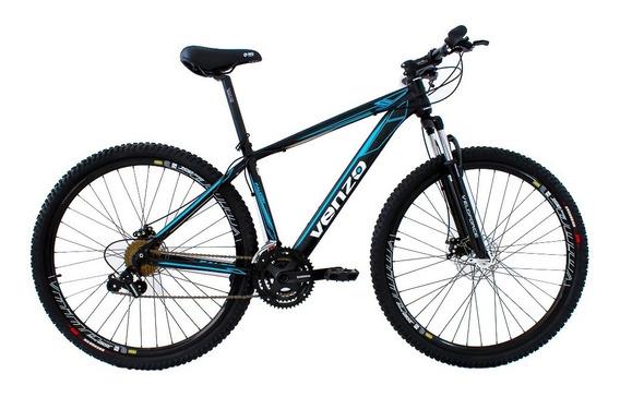 Bicicleta Aro 29 Câmbios Shimano Preta Azul 24v Venzo Falcon