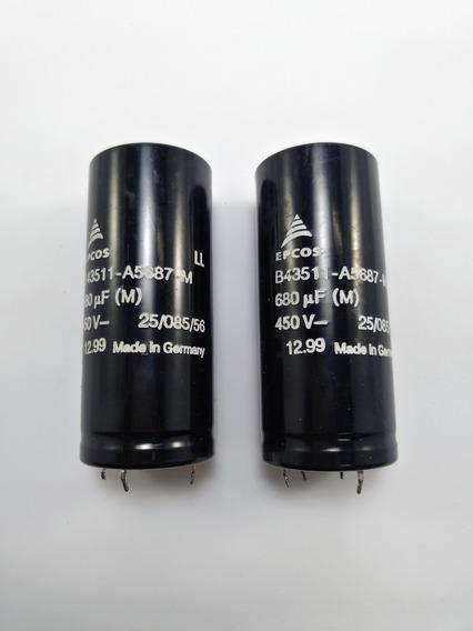 Kit 2 Capacitor Eletrolítico Epcos 680uf 450v B43511 4 Termi