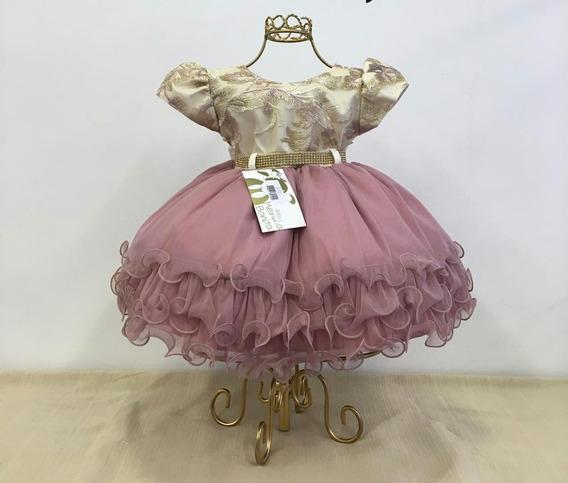 Vestido Bebê Festa Casamento Dourado Bege Realeza P Ao G