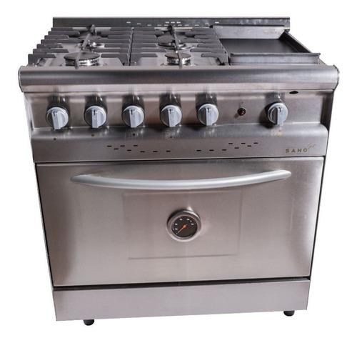 Imagen 1 de 3 de Cocina industrial Saho Jitaku Grill 820 a gas/eléctrica 4 hornallas  acero inoxidable 220V puerta  ciega 304L