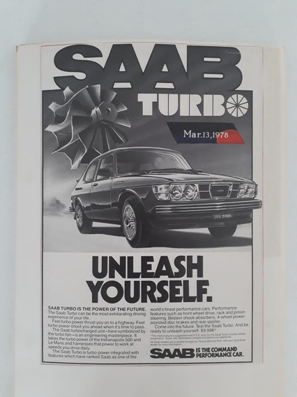 Propaganda Antiga Saab Turbo 1978 Raro Publicidade Anúncio