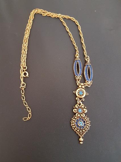 Colar Bijuteria Antiga Dourado Com Pedras E Detalhes Azuis