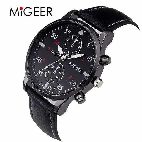 Relógio Megeer Luxo Pulseira Preta - Couro - Brinde Estojo