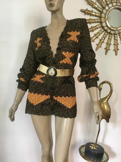 Vestido Maxi Cardigan Vintage Tejido Lurex