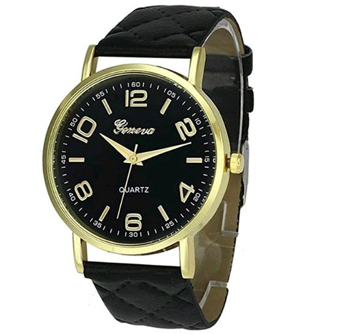 Relógio Feminino Geneva Dourado Pulseira Matelassê Preto