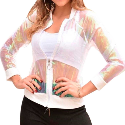 Jaqueta Bomber Feminina Holográfica Com Ziper