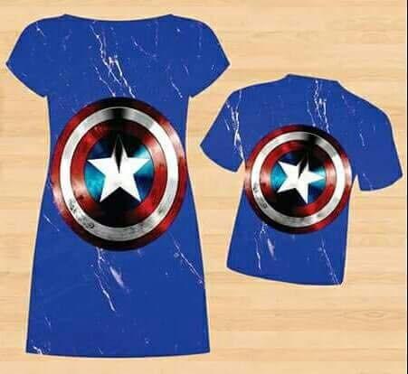 d23f8ea1c26a4a Kit De Tal Mãe Tal Filho Capitão América, Vestido + Camiseta