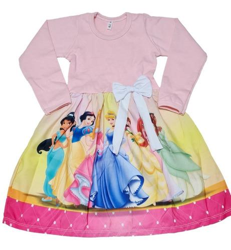 Imagem 1 de 3 de Vestido Infantil Princesas Manga Longa Inverno Fab2