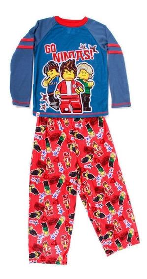 Pijama Lego Nijago En Accion Azul Estampado Ninjas Para Niño