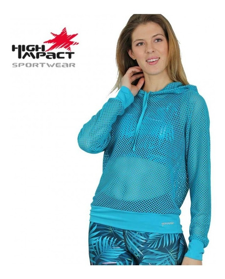 Sudadera Deportiva Dama Dryfit High Impact Aqua 91561 Nuevo