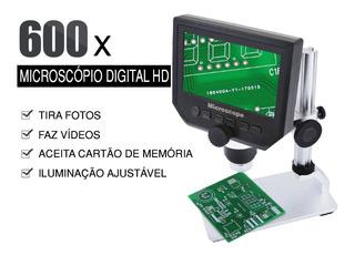 Microscópio Usb 600x Base Metálica Tela Hd Slot Mem. Bst-600