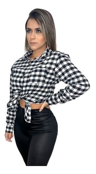 Camiseta Xadrez Flanelada Feminina Camisa Blusa + Brinde16