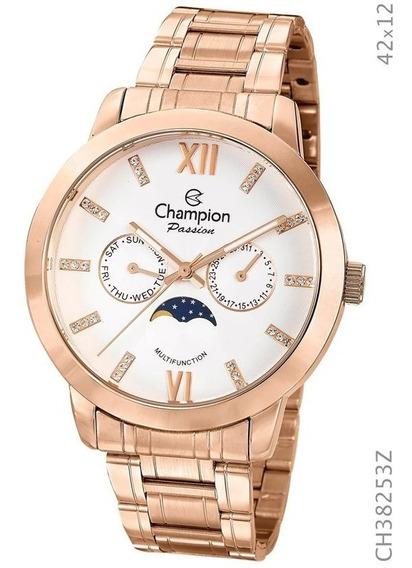Relógio Champion Feminino Rosé Calend Lunar Ch38253z