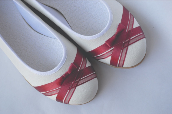 Zapatos Novia Chatitas Casamiento Fiestas Blanco