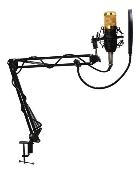 Microfone Condensador Bm800 + Suporte Mesa+ Pop Filter Waver