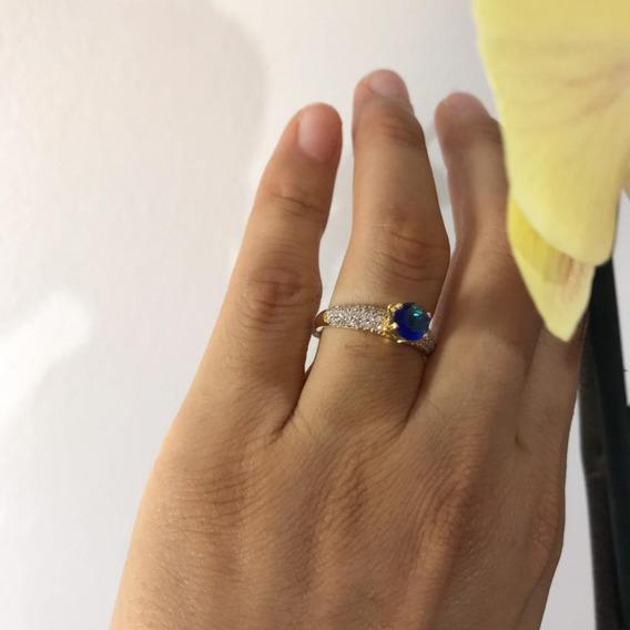 Anel Solitario Com Pedra Azul Frete Gratis