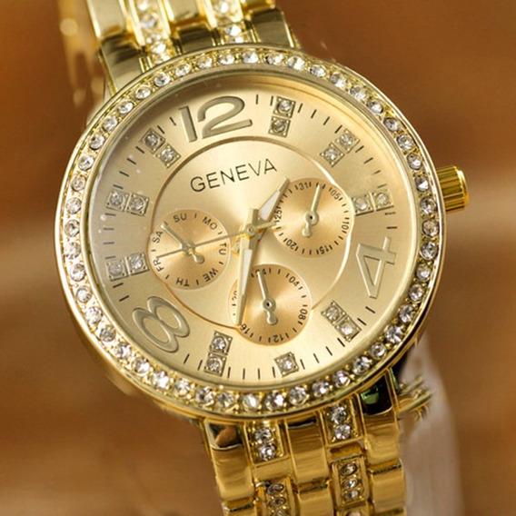 Relogio Dourado Luxo Feminino Com Strass Lançamento