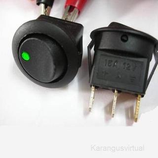 Chave Botao Tic Tac Interruptor Carro Led 12v Com Fio 2 Und