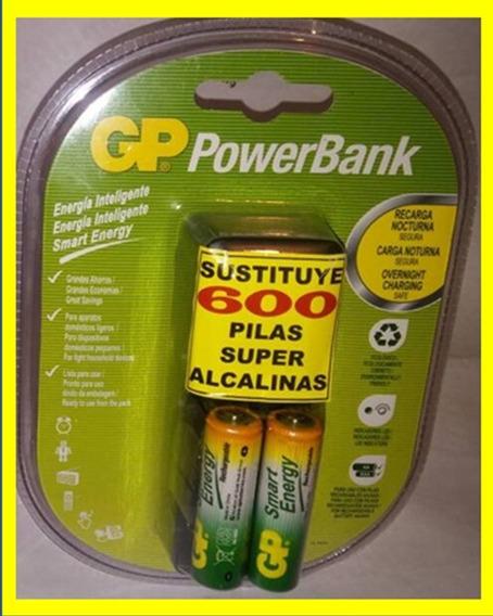 Baterias Recargables Aa 1000 Mah Gp Con Cargador 2 Pilas